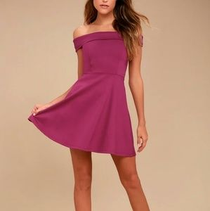 Lulu's Season of Fun Magenta Skater Dress XL New
